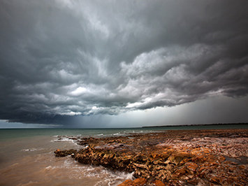 A storm brews over Darwin Harbour
