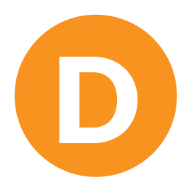 A orange icon with the capital letter D in the centre.