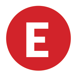 A red icon with the capital letter E in the centre.