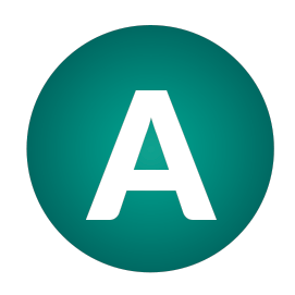A dark green icon with the capital letter A in the centre.