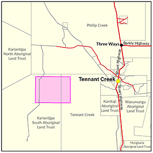 Tennant Creek West locality map