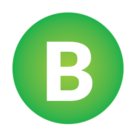 A light green icon with the capital letter B in the centre.